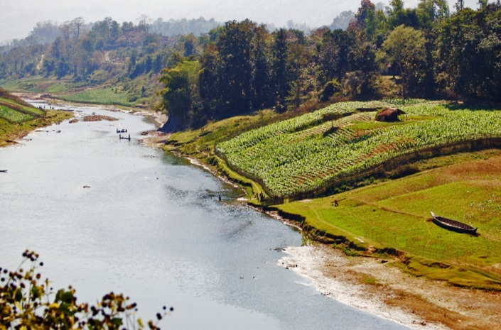 Rivers and streams flow throughout the region of Chittagong Hill Tracts.