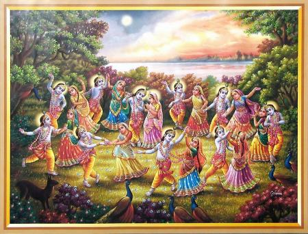Raas Leela - Lord Krishna in Vrindavan dancing with Gopis. Lord Krishna is simultaneously ONE and also DIFFERENT. He is the manifestation of Creative Energy.This Group Dance is an example of 'Individualistic Rhythm'.