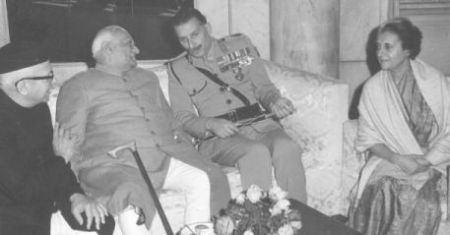 President of India Shri. V. V. Giri is seen with Field Marshal Sam Bahadur Manekshaw and Prime Minister Indira Gandhi after India's victory in 1971 War that liberated Bangladesh.