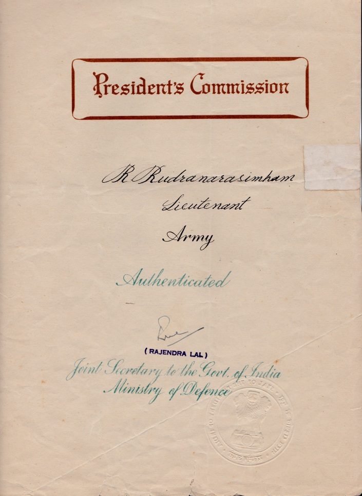 I was granted President's Commission to serve in the Regular Army and was appointed in the Rank of Lieutenant on 26 July, 1970.