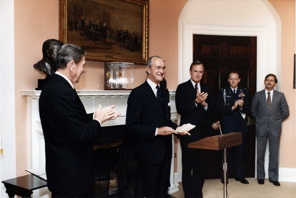 "Whole Dude - Whole Spy : Richard M Helms during the year 1980, in this White House ceremony received an award from President Ronald Reagan for ""Exceptionally Meritorious Service."""