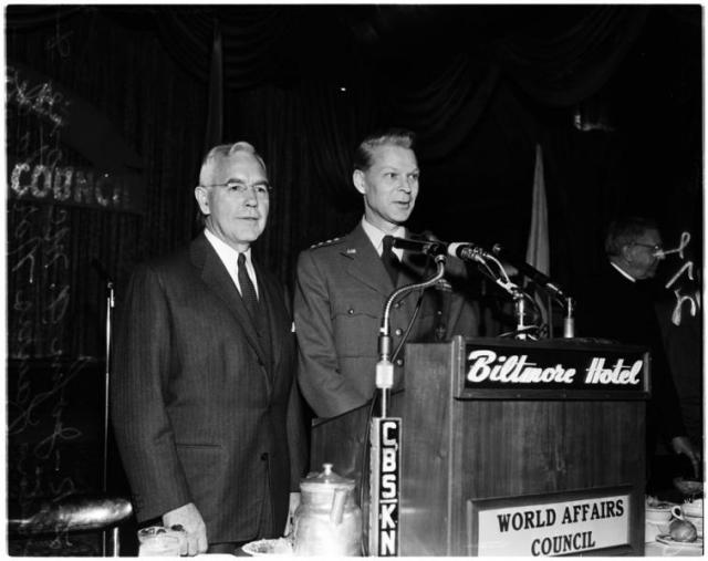 Whole Dude-Whole Master: In this photo taken during 1958, John A. McCone, Chairman of the World Affairs Council is seen with General Lauris Norstad, Supreme Commander of the Allied Powers in Europe.