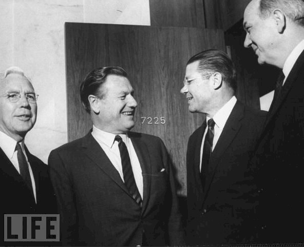 Whole Dude-Whole Master: May 01, 1964. Presidential candidate, New York State Governor, Nelson a. Rockefeller gets Intelligence briefing. Left to Right:-John McCone, DIC; Governor Nelson A. Rockefeller; Robert S. McNamara, Defense Secretary; Dean Rusk, Secretary of State. Photo credit: Francis Miller/Time & Life.