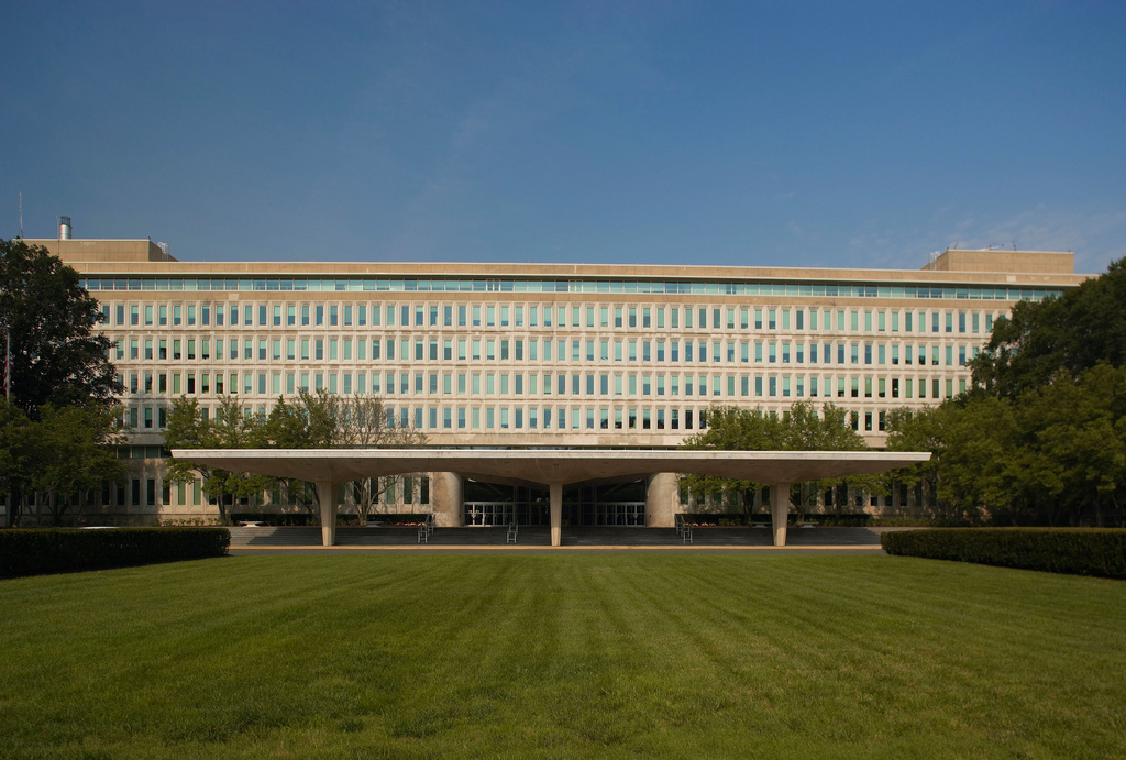 Whole Dude - Whole Spy: The Original Headquarters Building(OHB) reflects the vision of Allen Welsh Dulles, the 5th Director of CIA. CIA is the principle Intelligence and Counterintelligence agency of the US Government. It is organized as 1. The Intelligence Directorate, 2. The Directorate of Operations which includes espionage, 3. The Directorate of Science and Technology, and 4. The Directorate of Administration.