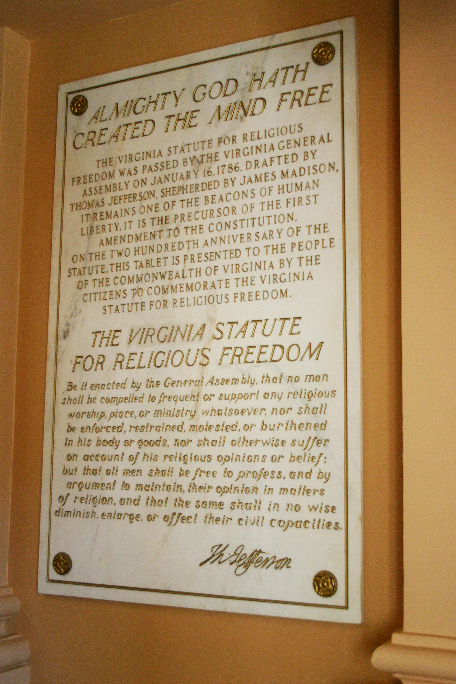 "Whole Dude - Whole Declaration: Jefferson was passionate in his commitment to intellectual freedom. He had authored the Statute of Virginia for Religious Freedom. He stated, ""I have sworn upon the altar of God eternal hostility against every form of tyranny over the mind of man."""