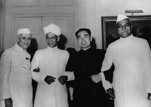 The history of Special Frontier Force-Establishment No. 22: Chinese Prime Minister Zhou Enlai visited New Delhi, India in June 1954 after his initiative called the Five Principles of Peaceful Coexistence(PANCHSHEEL). The first President of India, Rajendra Prasad(first right), Vice President Radhakrishnan third right, and India's Prime Minister Jawaharlal Nehru is at the far left.