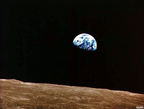 WholeDude-WholeDesigner: A view of Planet Earth from Lunar surface. Photo image by Apollo8 astronaut taken on December 25, 1968. When viewed from the surface of Moon, the Sky appears dark, and Black.