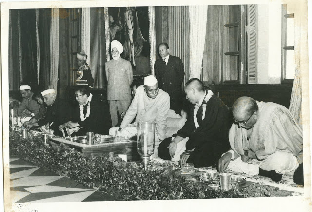 The history of Special Frontier Force-Establishment No. 22: The Celebration of 2500th Anniversary of the birth of Gautama Buddha(Buddha Jayanti) in New Delhi on May 24,  1956 displays the historical connection between India, and Tibet. Prime Minister Nehru, President Rajendra Prasad, the 14th Dalai Lama, and the 10th Panchen Lama, Rinpoche are seen  in this photo image. Becuase of Gautama Buddha, India, and Tibet are natural allies. But, the complex, political, and military relationship developed as a reaction to People's Republic of China's invasion of Tibet in 1950.