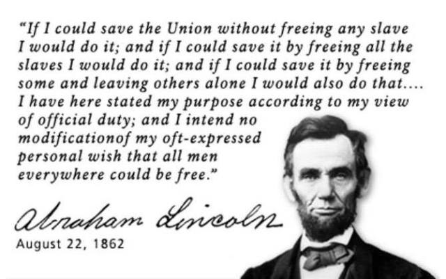 WholeDude-WholeSlave: Emancipation Proclamation by President Abraham Lincoln during September 1862. United States has officially abolished the practice of slavery and has now institutionalized the practice of Servitude and the Union has transformed from a 'Free State' into a 'Slave State.'