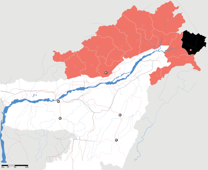 SPECIAL FRONTIER FORCE - LOHIT RIVER: Map of Anjaw District, Arunachal Pradseh State, India.