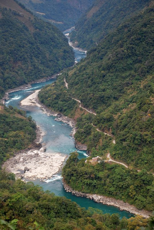Special Frontier Force - Lohit River: This Border Road along Lohit River did not exist during 1972-73. I had the pleasure of trekking along this route.