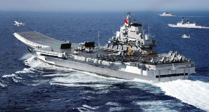 Special Frontier Force - China's Military Threat: China CV-16 Liaoning Aircraft Carrier. Navy J-15 Flying Shark takeoff. China has modernized its military cpabilities.