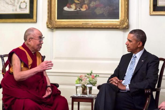 SPECIAL FRONTIER FORCE AT THE WHITE HOUSE: His Holiness the 14th Dalai Lama speaking with US President Barack Obama during their meeting in the Map Room of The White House in Washington, DC on Friday, February 21, 2014.(Official White House photo by Pete Souza)