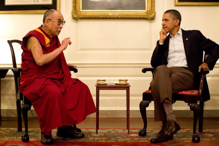 SPECIAL FRONTIER FORCE AT THE WHITE HOUSE: His Holiness the 14th Dalai Lama speaking with US President Barack Obama during their meeting in the Map Room of The White House in Washington, DC on July 16, 2011.