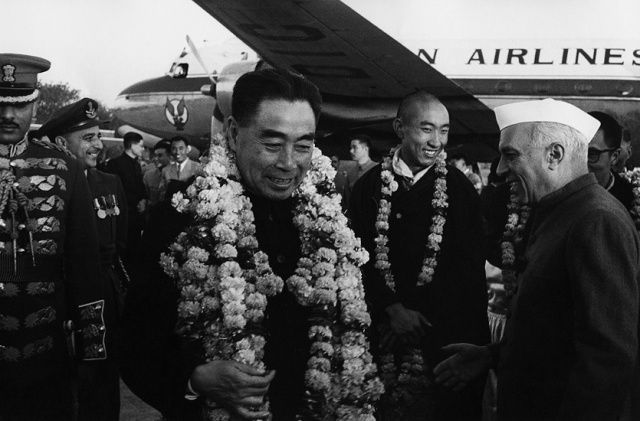 SPECIAL FRONTIER FORCE - THE DECEPTION OF PANCHSHEEL AGREEMENT: IN MY OPINION, THIS PHOTO IMAGE PROVIDES THE EVIDENCE FOR THE DECEPTION OF PANCHSHEEL AGREEMENT OF JUNE 1954. CHINA'S PRIME MINISTER CHOU EN-LAI HAD ARRIVED IN NEW DELHI ON AN OFFICIAL VISIT ACCOMPANIED BY THE 14th DALAI LAMA WHO IS RECOGNIZED BY INDIA AS THE HEAD OF THE TIBETAN GOVERNMENT. AT THAT TIME CHINA HAD DELIBERATELY DISTORTED THE TRUTH ABOUT THE PURPOSE OF ITS MILITARY CONQUEST OF TIBET.