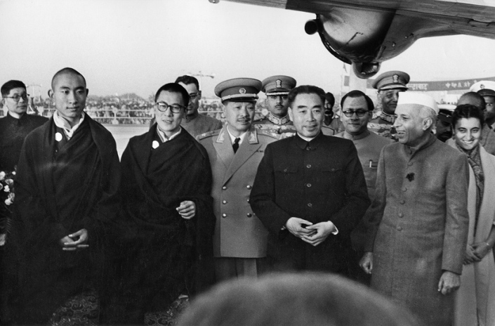 SPECIAL FRONTIER FORCE - THE DECEPTION OF PANCHSHEEL AGREEMENT OF JUNE 1954: AFTER SIGNING THE PANCHSHEEL AGREEMENT, INDIA TRIED ITS BEST TO LOOSEN CHINA'S MILITARY GRIP OVER TIBET. BOTH INDIA, AND TIBET HOPED THAT DIPLOMACY WOULD PREVAIL AND THAT TIBET WOULD ENJOY FULL AUTONOMY DESPITE CHINA'S MILITARY CONQUEST OF TIBET DURING 1950. THIS PHOTO IMAGE OF CHOU EN-LAI'S VISIT TO NEW DELHI ALONG WITH THE 14th DALAI LAMA GAVE HOPE TO BOTH INDIA AND TIBET.