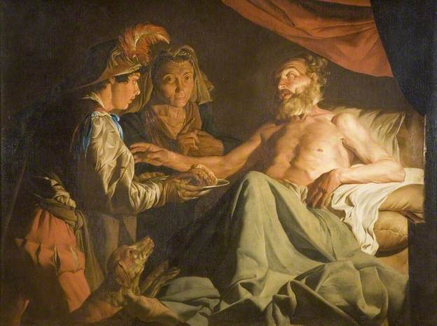 SPIRITUALITY SCIENCE - THE PROMISE OF GOOD OLD AGE: GOD'S PROMISE OF GOOD OLD AGE WAS MADE TO ABRAHAM. ISAAC, THE SON OF ABRAHAM DIED AT 180 YEARS AGE AND HAD LIVED FOR FIVE ADDITIONAL YEARS AS COMPARED TO HIS FATHER. IN THIS PAINTING, ISSAC WAS GIVING HIS BLESSINGS TO JACOB AND HE WAS DECEIVED FOR HE BECAME BLIND ON ACCOUNT OF THE NATURAL AGING PROCESS.