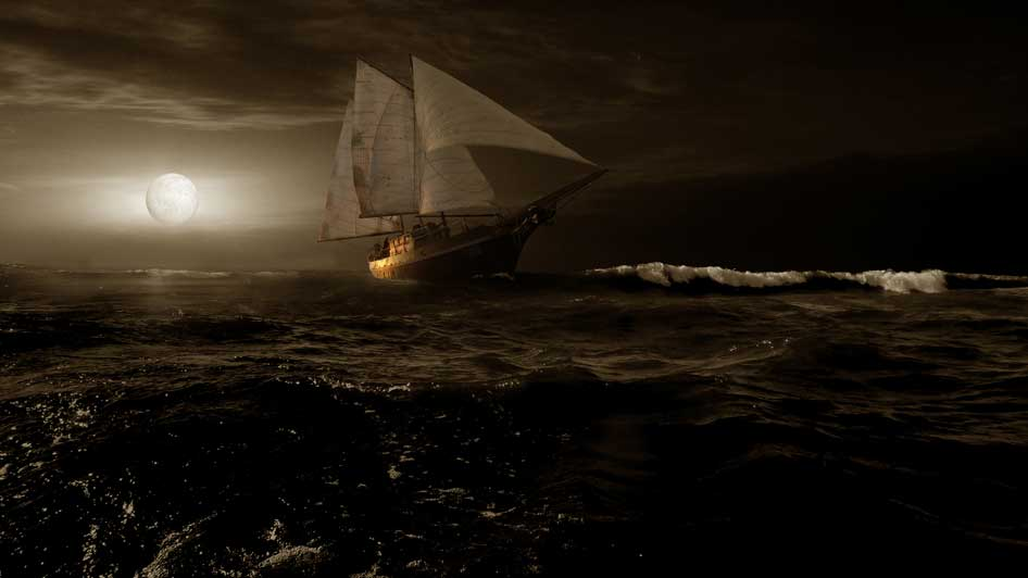 GONE WITH THE BOOM: IN NAUTICAL LANGUAGE, BOOM REFERS TO TAKING MAXIMUM ADVANTAGE OF A WIND TOWARD THE STERN OR REAR OF A SCHOONER TO MAKE GREAT SPEED.