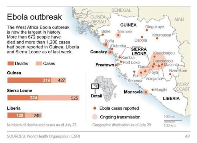 Graphic provides background on the Ebola outbreak in West Africa.