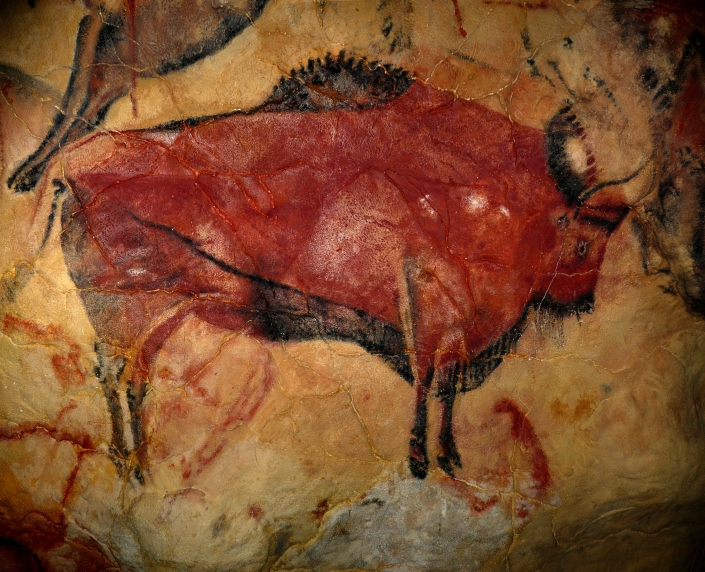 MENDEL'S  LAWS  OF  INHERITANCE  VS  HUMAN  EVOLUTION  :  PALEOLITHIC  ART .  MURALS  AT  ROUFFIGNAC,  NIAUX,  AND  CAVE  PAINTINGS  OF  ALTAMIRA ,  SPAIN . c. 14,000 -c. 9500 B.C. THE  SOLUTREO - MAGDALENIAN  PERIOD  .