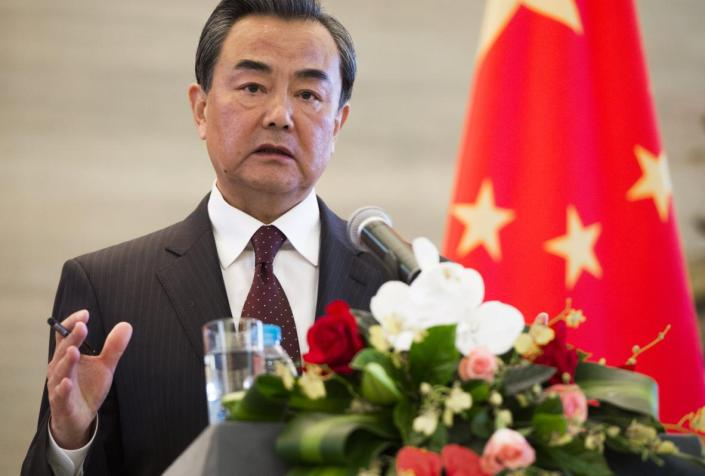 Chinese Foreign Minister Wang Yi speaks during a joint press conference following meetings with U.S. Secretary of State John Kerry at the Ministry of Foreign Affairs in Beijing, China, Saturday, May 16, 2015. Kerry is in China to press Beijing to halt increasingly assertive actions it is taking in the South China Sea that have alarmed the United States and China's smaller neighbors. (Saul Loeb/Pool Photo via AP)