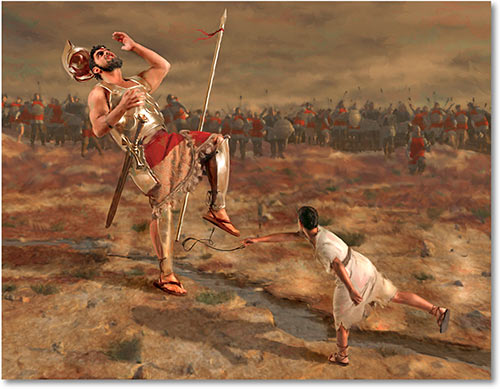 an analysis of the story of david against the goliath The story of david vs goliath has been told and re-told for generations as the biblical story unfolds, the philistine army is gathered for war against the israelites.