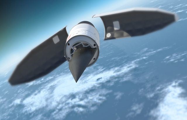 An artist's illustration of DARPA's Hypersonic Technology Vehicle 2 (HTV 2) travelling at 13,000 mph, or Mach 20, during its Aug. 11, 2011 test flight.
