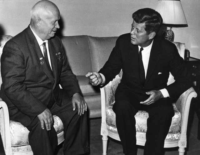 03 June 1961  President Kennedy meets with Chairman Khrushchev at the U. S. Embassy residence, Vienna. U. S. Dept. of State photograph in the John Fitzgerald Kennedy Library, Boston.