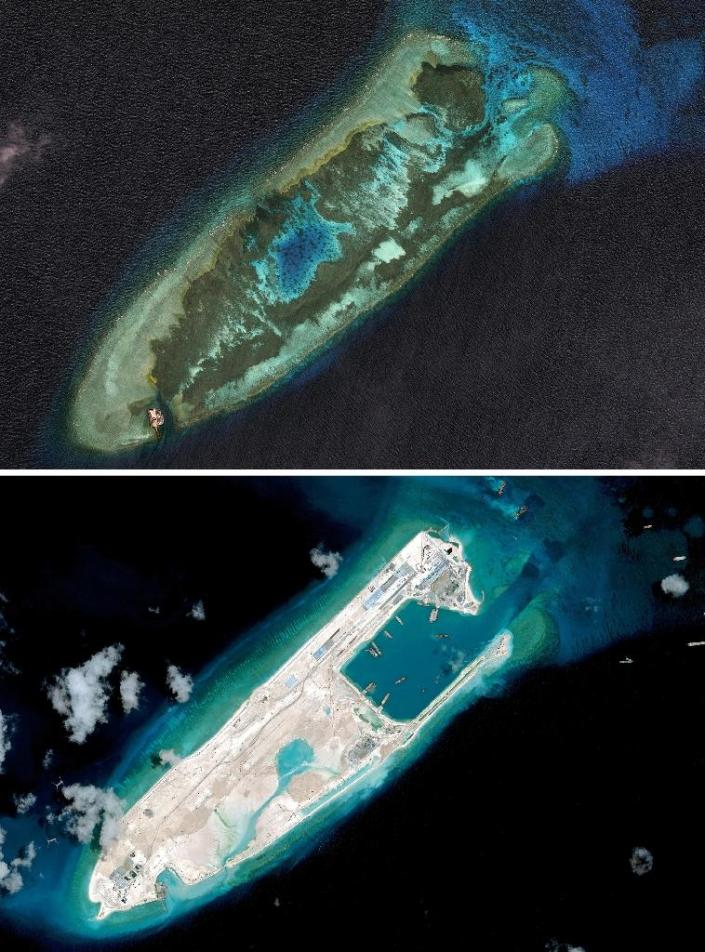 RED  CHINA  -  EXPANSIONISM  -  SOUTH  CHINA  SEA  -  IMAGES  OF  FIERY  CROSS  REEF  TAKEN  ON  JANUARY  22, 2006(ABOVE)  AND  APRIL  02,  2015(BELOW).
