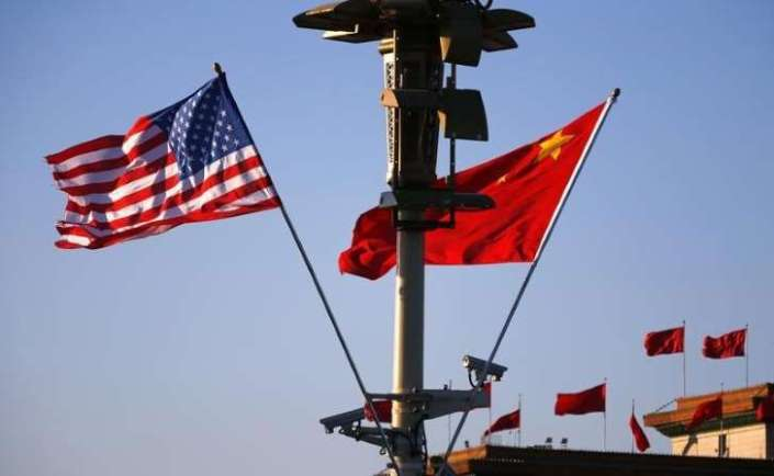 red alert us and chinese flags at tiananmen square president obama beijing visit