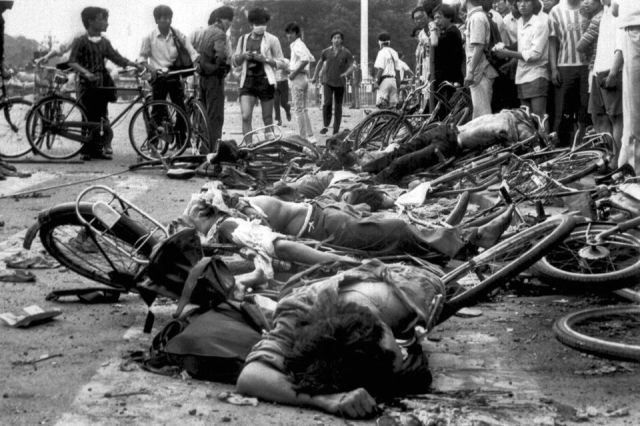 red china communist bodies mangled bicycles 1989