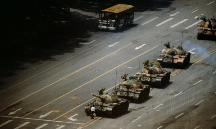 THE EVIL RED EMPIRE - RED CHINA - COMMUNIST :  Beijing. Tien An Men Square. 'The Tank Man' stopping the column of T59 tanks. 4th June 1989.