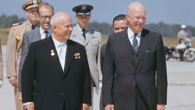 The Evil Red Empire - Red China - Whole Villain : President  Eisenhower welcomes Premier Nikita Khrushchev.  This Policy is important to contain and isolate Red China's Imperialism.