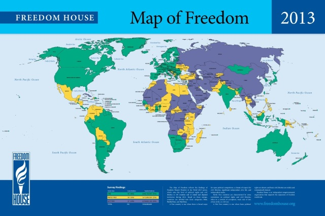 CELEBRATION OF FOURTH OF JULY AS WORLD FREEDOM DAY. THIS MAP OF FREEDOM EXPLAINS THE PROBLEM OF FREEDOM IN OUR WORLD.