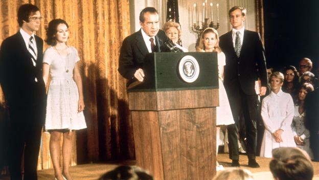 American politician Richard Nixon (1913 - 1994) at the White House with his family after his resignation as President, 9th August 1974. From left, son-in-law David Eisenhower, Julie Nixon-Eisenhower, Richard Nixon,  Pat Nixon (1912 - 1993), Tricia Nixon and her husband Edward Cox, August 1974. (Photo by Keystone/Hulton Archive/Getty Images)