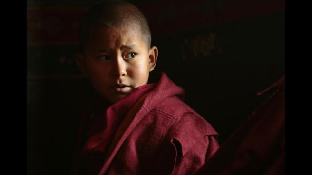 WHAT IS TIBET'S FUTURE?  A YOUNG MONK BY NAME TENZIN SONAN IN TRAINING  AT TSECHOKLING MONASTERY.