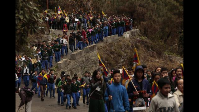 WHAT IS TIBET'S FUTURE? :  ON MARCH 10, 2014 TIBETAN STUDENTS IN DHARAMSALA  MARCH IN SUPPORT OF TIBETAN UPRISING DAY.