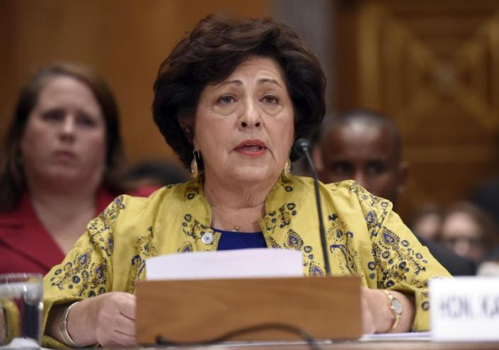 RED CHINA - RED ALERT - PUBLIC ENEMY NUMBER ONE - MILLIONS OF US CITIZENS ARE VICTIMS OF RED CHINA'S CRIMINAL ACTIVITIES. KATHERINE ARCHULETA HAD TO STEP DOWN AND I BLAME RED CHINA FOR UNDERMINING HER POSITION. FILE   In this June 25, 2015, file photo, Office of Personnel Management (OPM) director Katherine Archuleta testifies on Capitol Hill in Washington. The Obama administration says hackers stole Social Security numbers from more than 21 million people and took other sensitive information when government computer systems were compromised. The number affected by the breach is higher than the 14 million figure that investigators gave The Associated Press in June. (AP Photo/Susan Walsh)