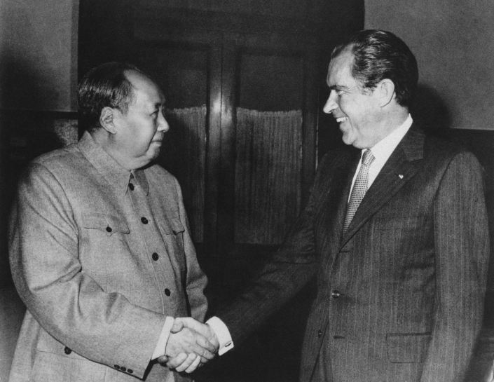 "BLACK DAY TO FREEDOM - JULY 15, 1971. US PRESIDENT RICHARD M NIXON ANNOUNCES HIS TRIP TO COMMUNIST CHINA. NIXON-KISSINGER DECISION TO BACKSTAB TIBET TO PLAY A DIRTY SINFUL GAME IN THE NAME OF ""REALPOLITIK."""