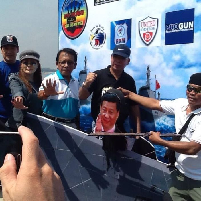 RED DRAGON - RED CHINA - AGGRESSION IN WEST PHILIPPINE SEA : PROTEST ON JULY 25, 2015. RAFAEL ALUNAN WITH MARTIN DINO BELLE ENRIQUEZ AND DANTE JIMENEZ.