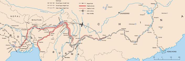 Special Frontier Force Reviews Hump Airlift Operation, China-Burma-India Theater, World War II. Hump Flight routes.