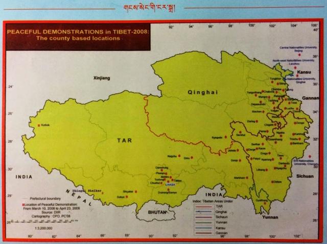 tibet awareness map of peaceful protests 2008