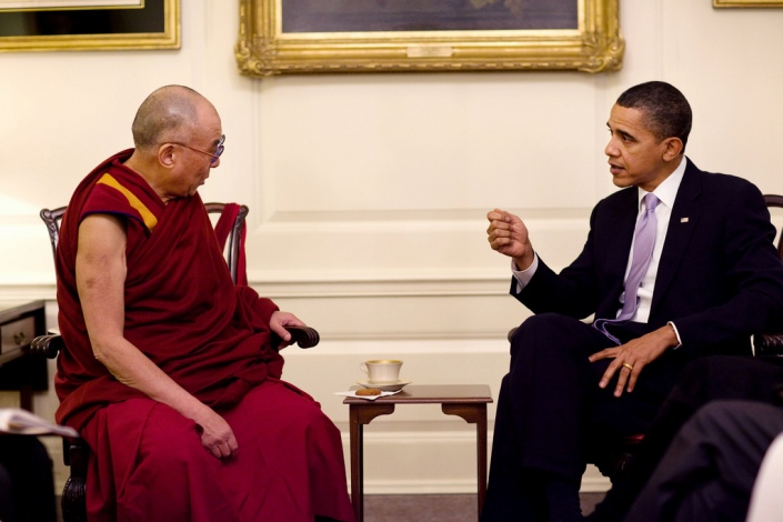 President Barack Obama meets with His Holiness the Dalai Lama in the Map Room of the White House, Feb. 18, 2010.  (Official White House Photo by Pete Souza) This official White House photograph is being made available only for publication by news organizations and/or for personal use printing by the subject(s) of the photograph. The photograph may not be manipulated in any way and may not be used in commercial or political materials, advertisements, emails, products, promotions that in any way suggests approval or endorsement of the President, the First Family, or the White House.