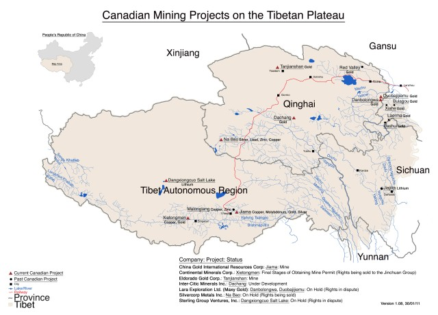 Tibet Awareness - Looting and Plundering of Tibet. Canadian mining projects in Tibet.