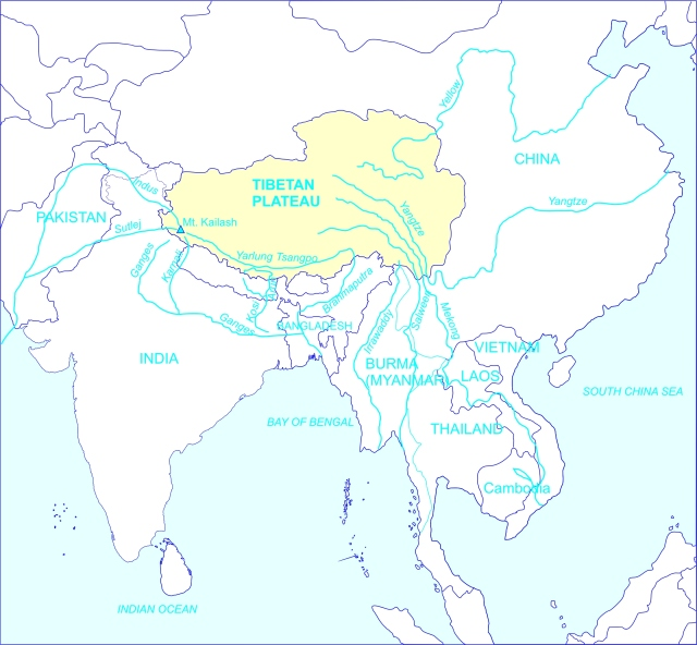 Tibet Awareness. Major rivers of Asia. Red China diverting waters from major Rivers of Asia.