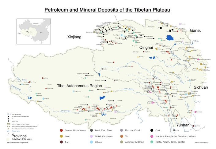 Tibet Awareness - Red China- Looting and Plundering of Tibet. Map of Mineral deposits of the Tibetan plateau.