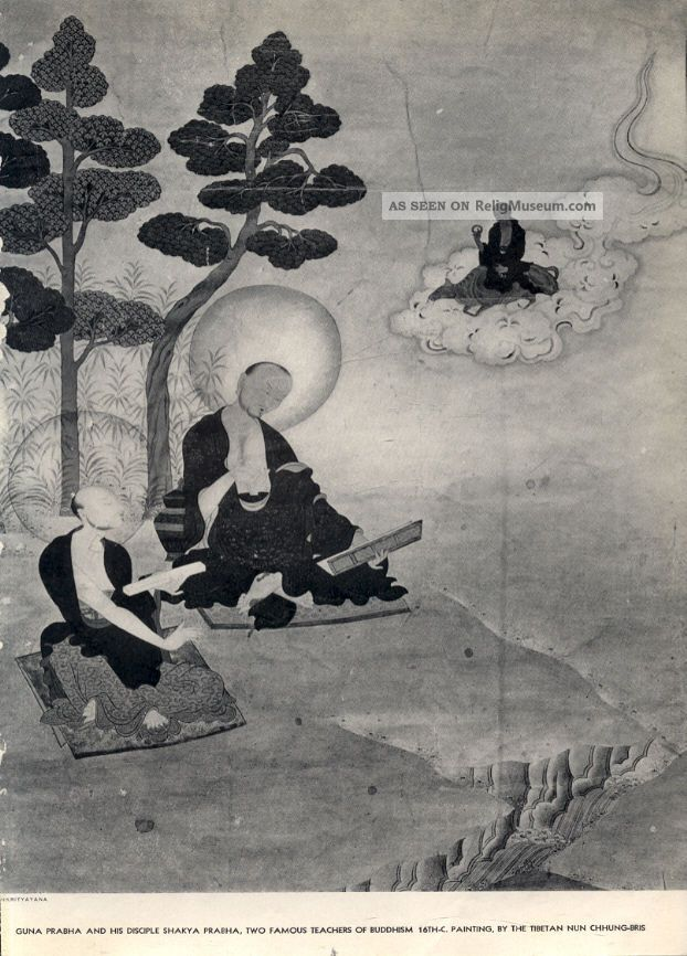 TIBET AWARENESS - THE GREAT MASTERS OF NALANDA. GUNA PRABHA AND HIS DISCIPLE SHAKYA PRABHA.
