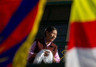 Tibet Consciousness - Saving Tibet's Culture. Ceremonial scarf, a symbol of Tibetan Culture.