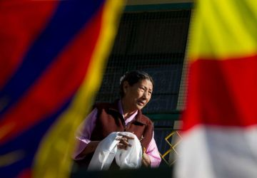 Tibet Consciousness - Saving Tibet's Culture. Ceremonial scarf, a symbol of Tibetan Culture.