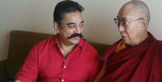 TIBET'S RIGHT TO SELF-PRESERVATION. HIS HOLINESS THE DALAI LAMA ENCOURAGED FILM ACTOR AND PRODUCER KAMAL HASAN TO PROMOTE THE VIRTUE OF AHIMSA OR NON-VIOLENCE.